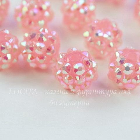 Бусина для шамбалы со стразами, цвет - розовый, 12 мм