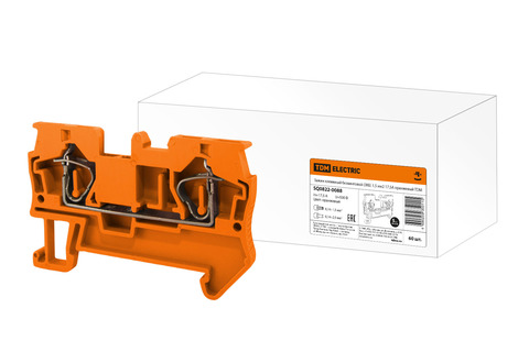 Зажим клеммный безвинтовой (ЗКБ) 1,5 мм2 17,5А оранжевый TDM