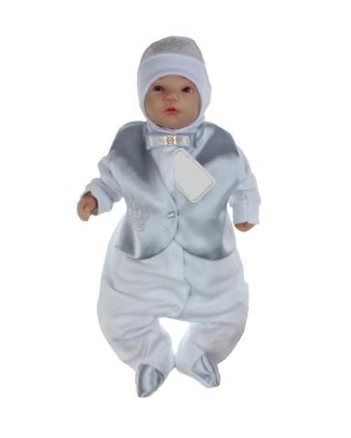 Велюровый костюм на выписку для мальчика Trendy серебро