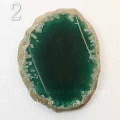 Срез Агата без отверстия (тониров), цвет - зеленый, 50-67 мм
