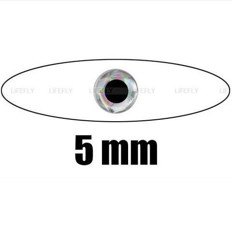 ГЛАЗКИ 3D голографические, самоклеющиеся Ф 5мм (24 глаз./накл.), цвет серебро