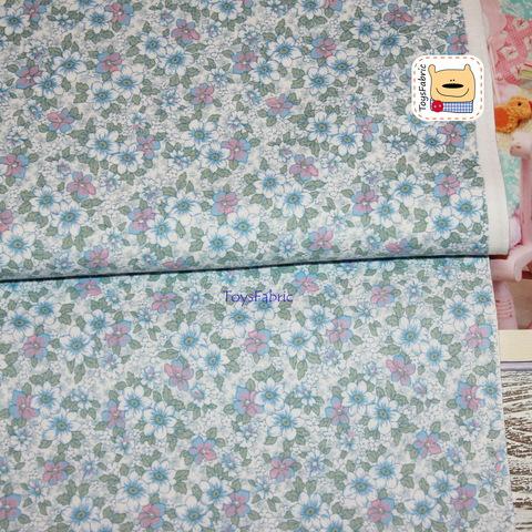 Корейский хлопок 20850 (ретро цветы голубые) 45х55см