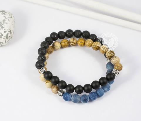 Двойной мужской браслет из шунгита, лавы, яшмы и агата. «Boroda Design»