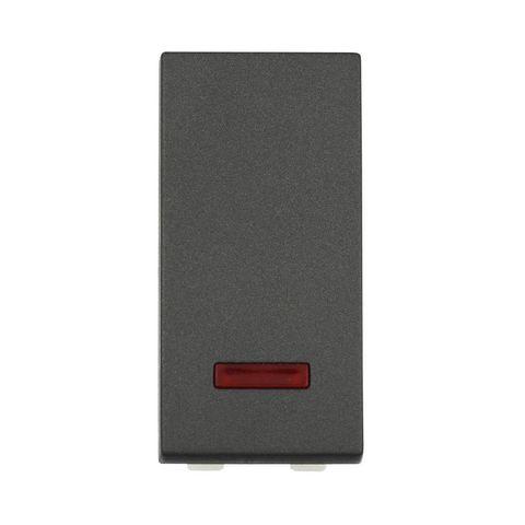Выключатель с индикатором 45х22,5 мм 16 A, 250 В~ 1 модуль (схема 1L). Цвет Чёрный бархат. LK Studio LK45 (ЛК Студио ЛК45). 850308