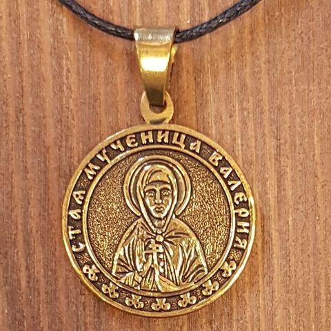святая Валерия именная нательная икона из бронзы кулон с молитвой