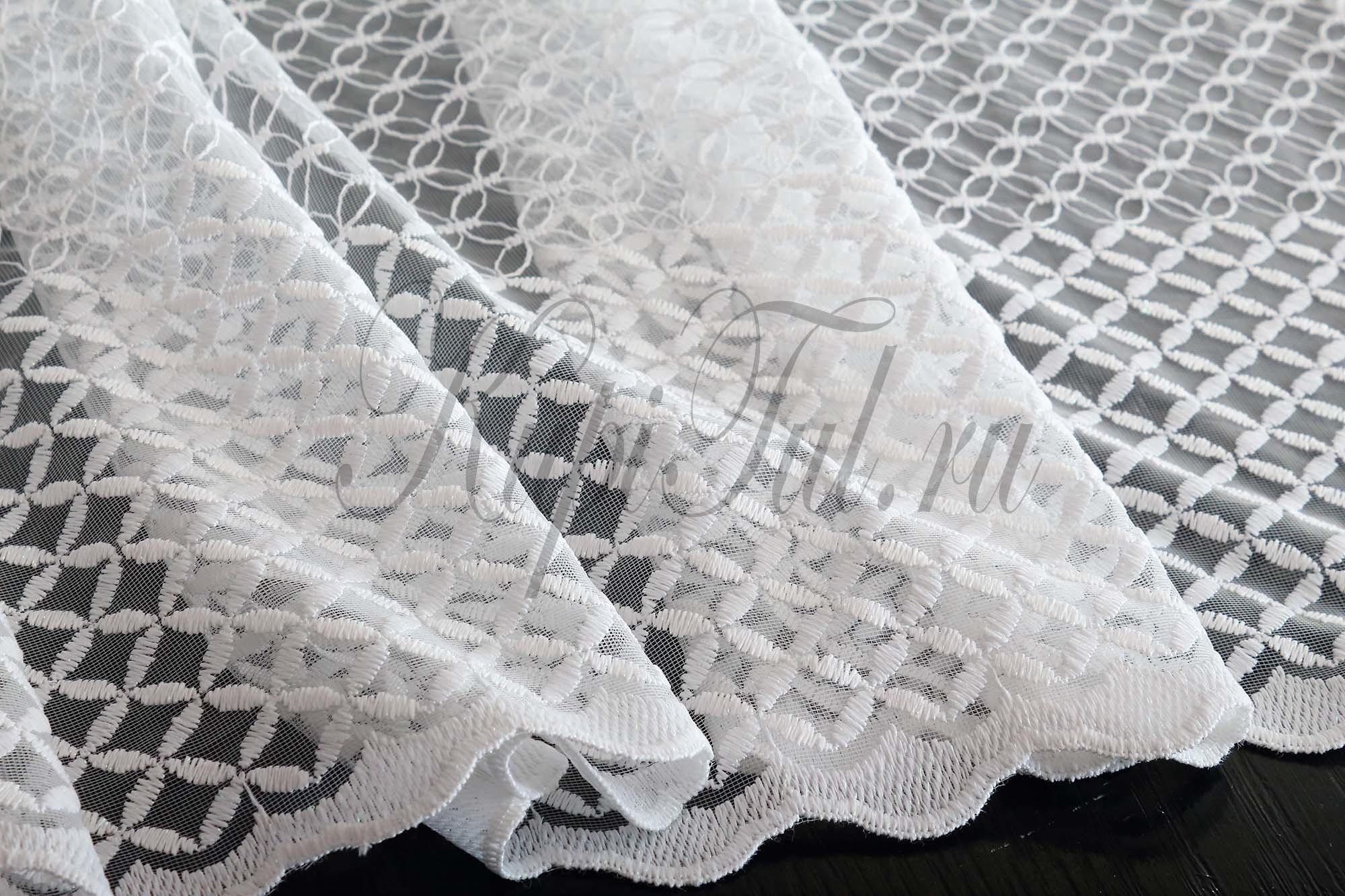 Микросетка с вышивкой Марта-2 (белая)