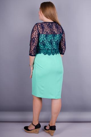 Романтика. Ніжна сукня великих розмірів. М'ята+синій.