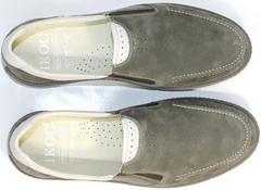 Мужские мокасины из натуральной кожи IKOC 3394-3 Gray.