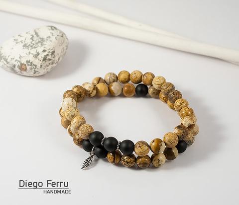 BSS123 Шикарный мужской браслет из натурального камня и серебра, ручная работа. &#34Diego Ferru&#34