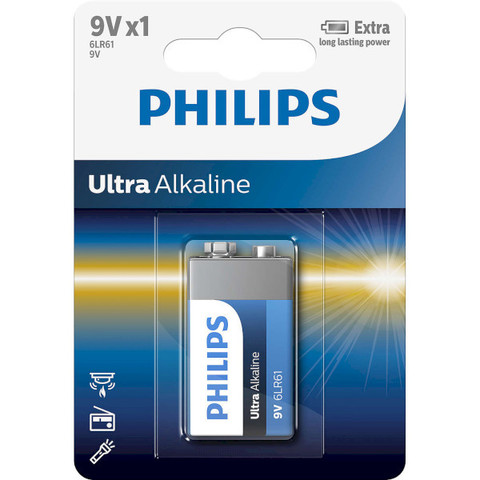 Батарейки Philips Ultra Alkaline 6LR61, крона 9V (1/12) BL