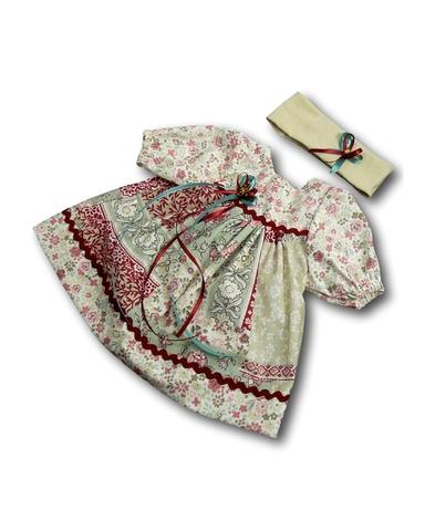 Платье печворк - Бежевый / бордо. Одежда для кукол, пупсов и мягких игрушек.