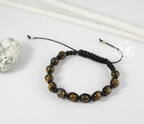 Стильный мужской браслет ручной работы из камня -тигрового глаза. «Boroda Design»
