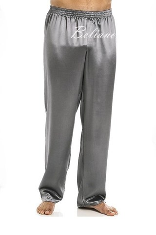 Пижамные мужские штаны (брюки) шелковые серого цвета. Натуральный шелк.