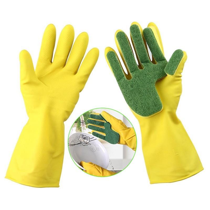 Хозяйственные латексные перчатки с губкой