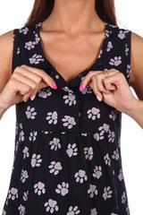 Мамаландия. Сорочка для беременных и кормящих с кнопками, лапки/темно-синий вид 3