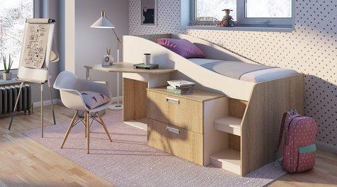 Кровать детская Скаут со столом и комодом БТС дуб сонома, белый