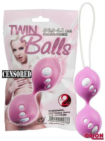 Вагинальные шарики со смещенным центром тяжести - ORION Twin Balls розовые (3,8 см)