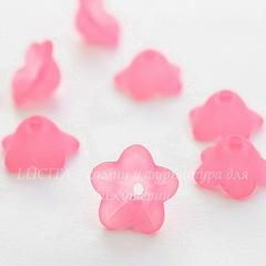 Бусина акриловая Цветочек темно-розовый 13х7 мм, 10 штук