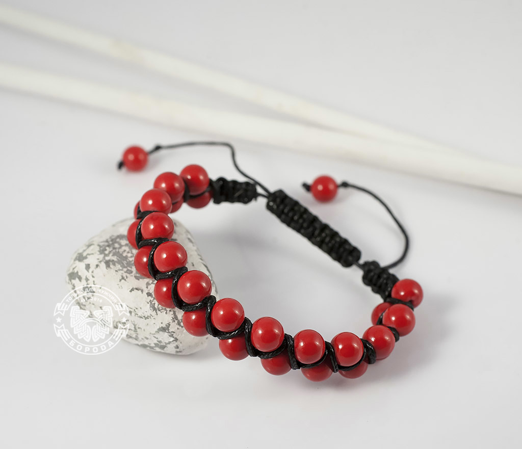 BS661 Яркий мужской браслет шамбала красного цвета из коралла. «Boroda Design» фото 01