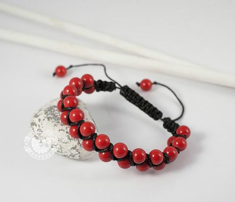 Яркий мужской браслет шамбала красного цвета из коралла. «Boroda Design»
