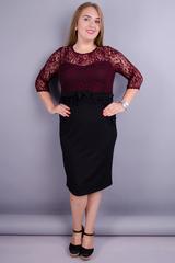 Романтика. Гипюровое платье для больших размеров. Черный+бордо.