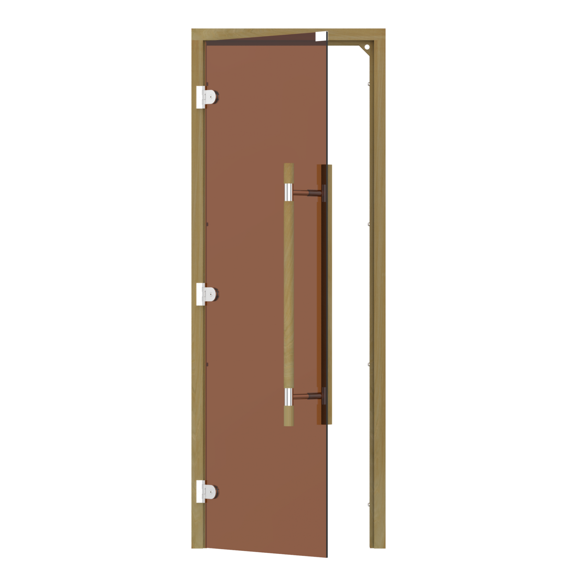 Двери: Дверь SAWO 741-3SGD-L-3 (7/19, бронза, левая, без порога, кедр, прямая ручка с металлической вставкой)