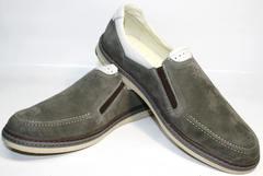Стильные мужские мокасины из кожи IKOC 3394-3 Gray.