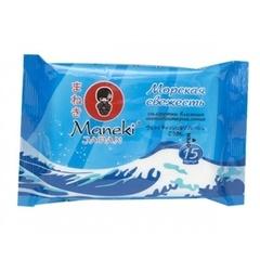 Влажные салфетки, Maneki, антибактериальные, морская свежесть, 15 шт.