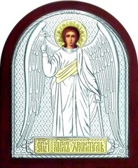 Серебряная с золочением икона Ангела Хранителя 11х9см