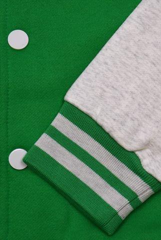 Бомбер зеленый фото рукав