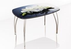 Стол обеденный со стеклом Агат (Лилии)