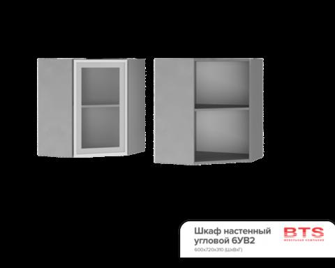 Шкаф настенный  угловой со стеклом (600*720*600) 6УВ2