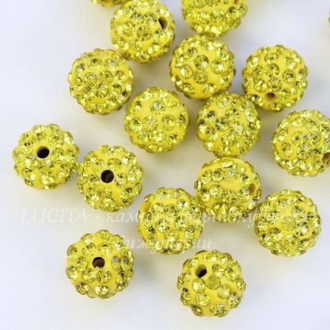 Бусина для шамбалы с фианитами, цвет - желтый, 10 мм
