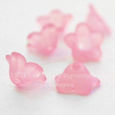 Бусина акриловая Цветочек розовый 13х7 мм,10 штук