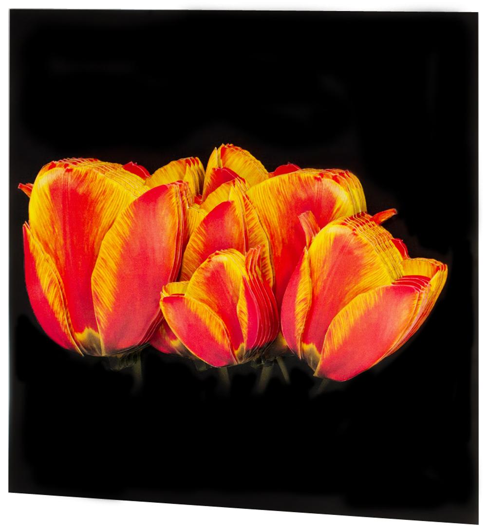 Папертоль Солнечные тюльпаны — готовая работа, вид сбоку.