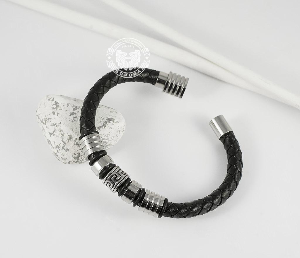 Массивный мужской браслет из кожаного шнура и стали (20 см)