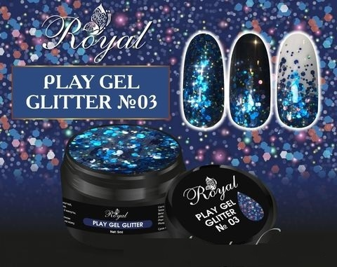 03 Gel PLAY GLITTER Royal 5мл. Артикул: 177-003