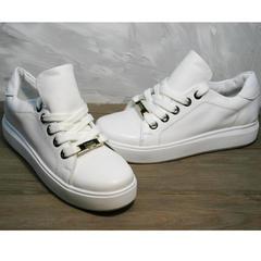 Женские туфли на шнурках без каблука Molly shoes 557 Whate