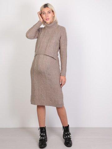 Евромама. Платье вязаное для беременных и кормящих, бежевый