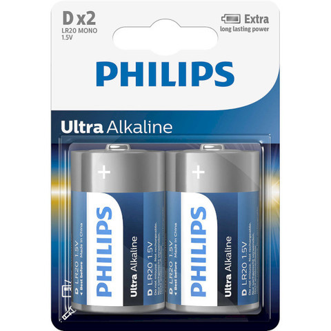 Батарейки Philips Ultra Alkaline LR20, D (2/24) BL