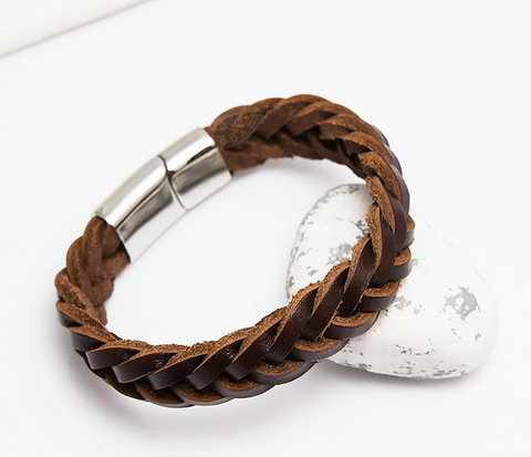 Мужской браслет из натуральной кожи коричневого цвета (19 см)