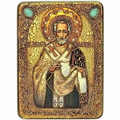 Инкрустированная рукописная икона Святитель Иоанн Златоуст 29х21см на натуральном дереве в подарочной коробке