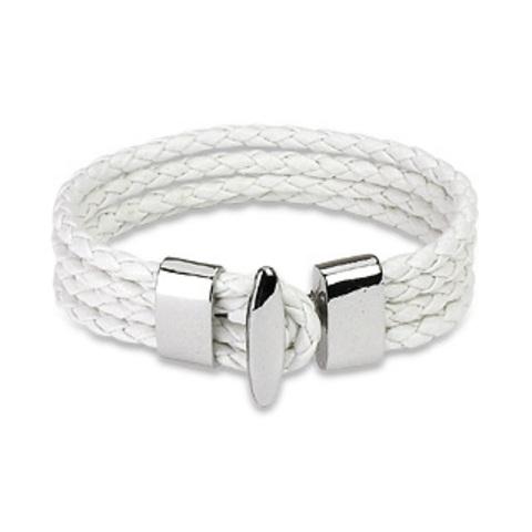 Белый браслет унисекс 4в1 из натуральной кожи SPIKES SL0076-WH+