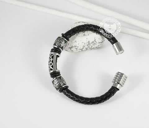 BM362 Красивый мужской браслет из кожи и стали, магнитная застежка (21,5 см)