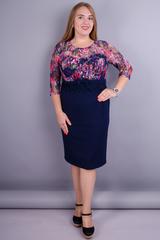Романтика. Элегантное платье больших размеров. Синий+цветы.