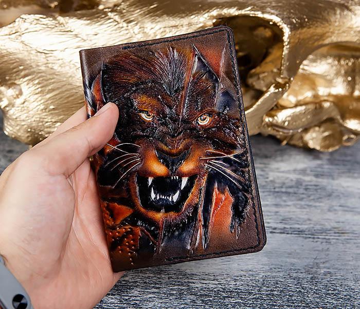 BC176 Крутая обложка на паспорт со львом фото 07