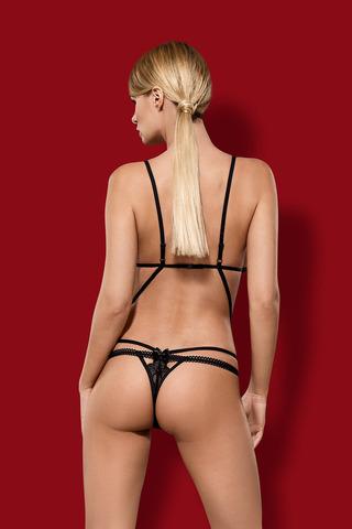 Черное эротическое открытое польское красивое сексуальное боди с кружевом и стрэпами Obsessive вид сзади