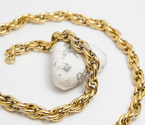 Оригинальная мужская цепь из стали золотистого цвета (55 см)