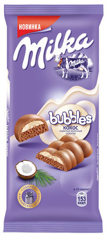 """Шоколад """"Milka"""" молочный пористый с кокосом 97 г"""