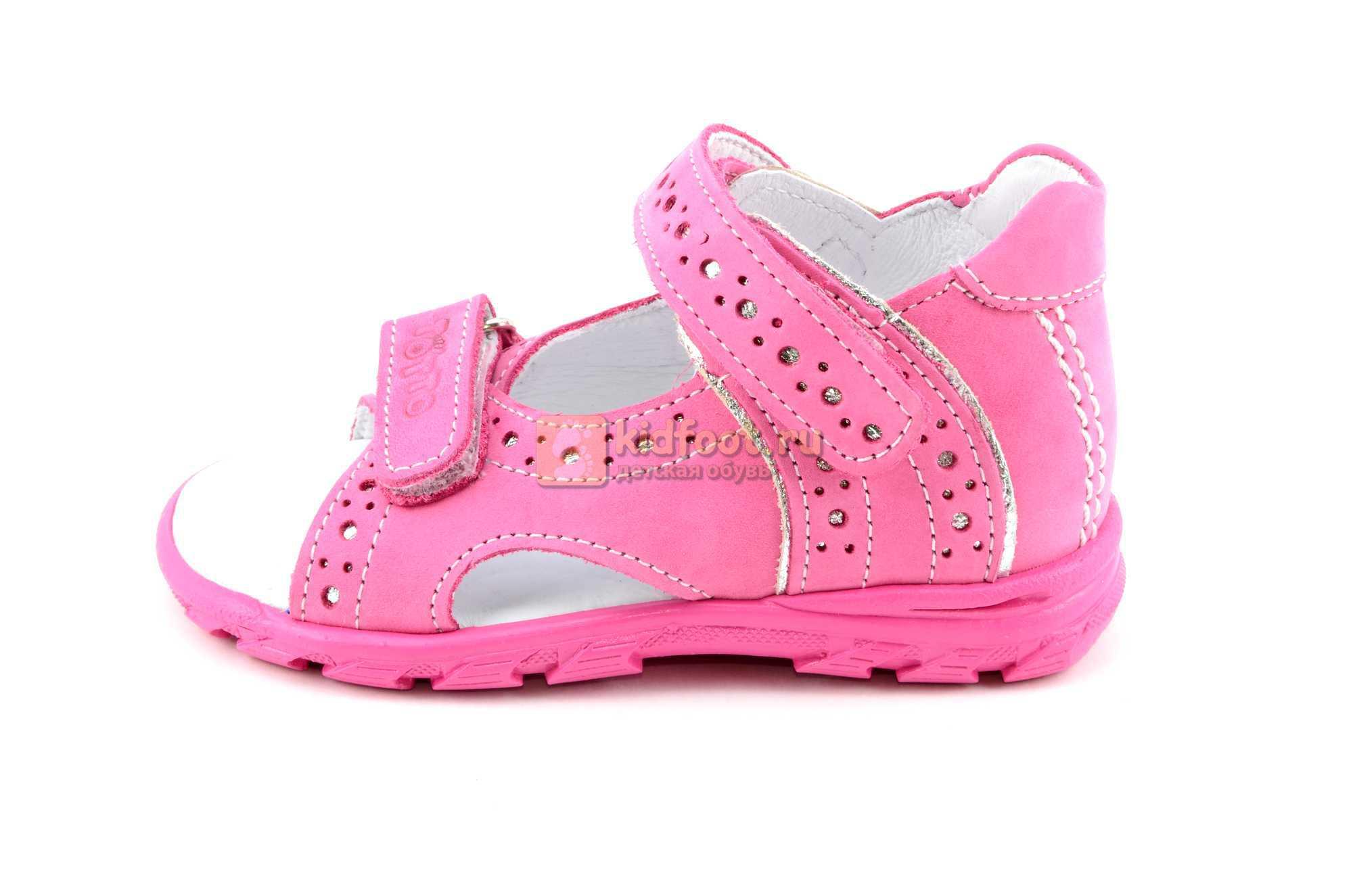 Босоножки Тотто из натуральной кожи с открытым носом для девочек, цвет розовый